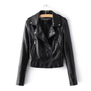 Podzimní dámská kožená bunda na zip
