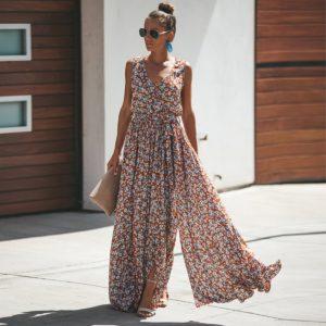 Dámské letní maxi šaty s květinkami