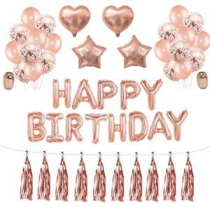 Rose Gold velká narozeninová sada balónků