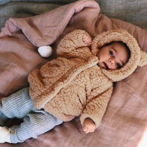 Dětský podzimní chlupatý kabát