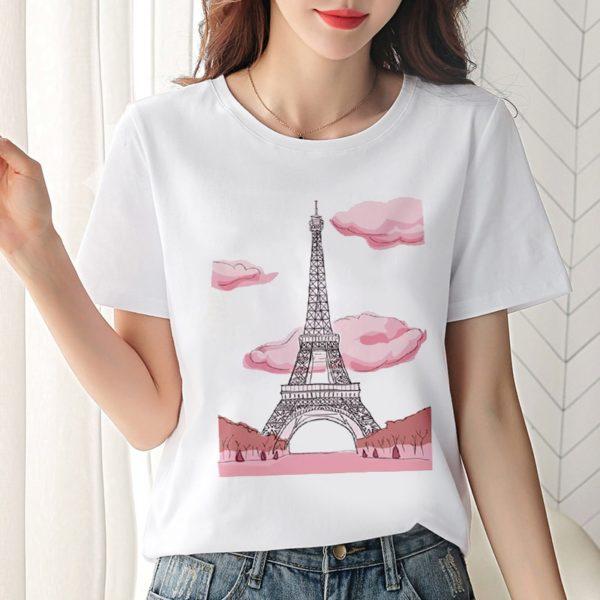 Dámské triko s krátkým rukávem a potiskem Eiffel Tower