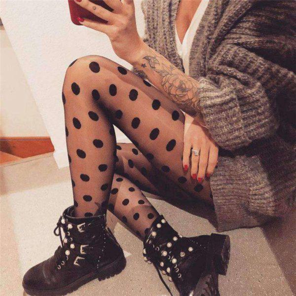 Dámské černé sexy punčochy s puntíky Jodie