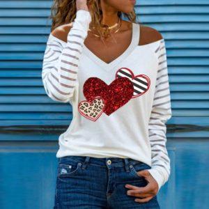 Dámské módní tričko s odhalenými rameny, dlouhým rukávem a flitrovým potiskem