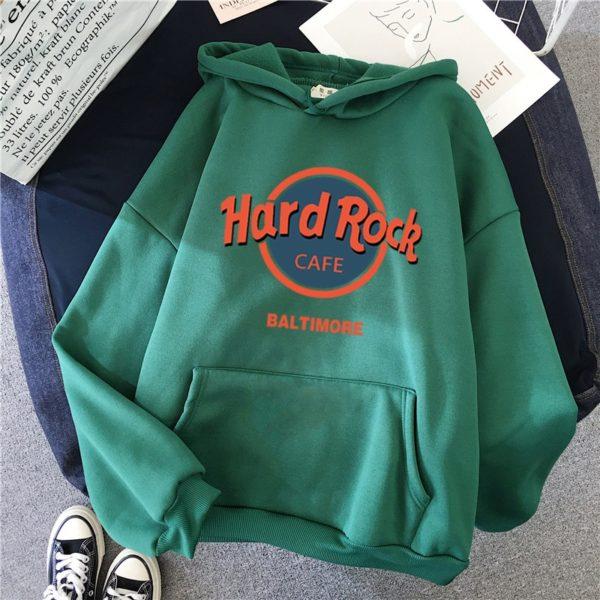 Nadměrná dámská stylová mikina s potiskem Hard Rock Cafe