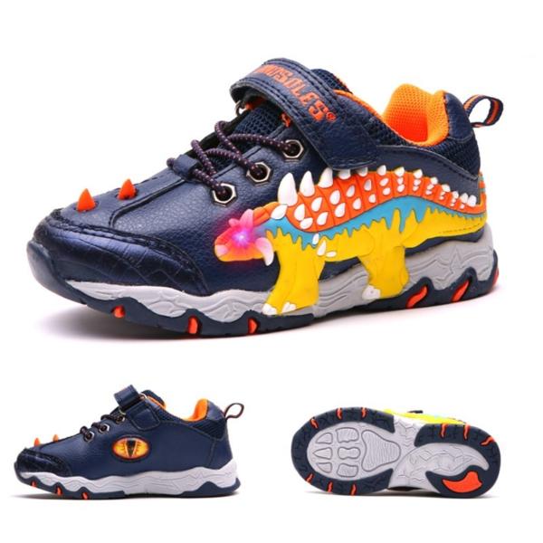 Dětské boty s 3D dinosaurem a svítícíma očima