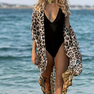Leopardí stylové plážové dlouhé šaty se zavazováním