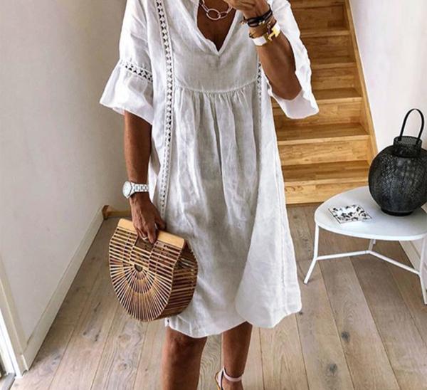 Dámské letní volné krajkové šaty s volnými rukávy