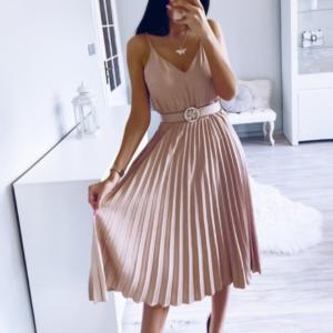 Dámské společenské elegantní růžové šaty se skládanou sukní