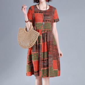 Dámské volné retro šaty v Plus Size velikostech