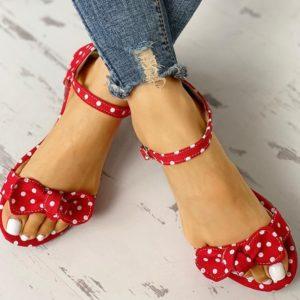 Dámské letní puntíkované sandálky s mašlí