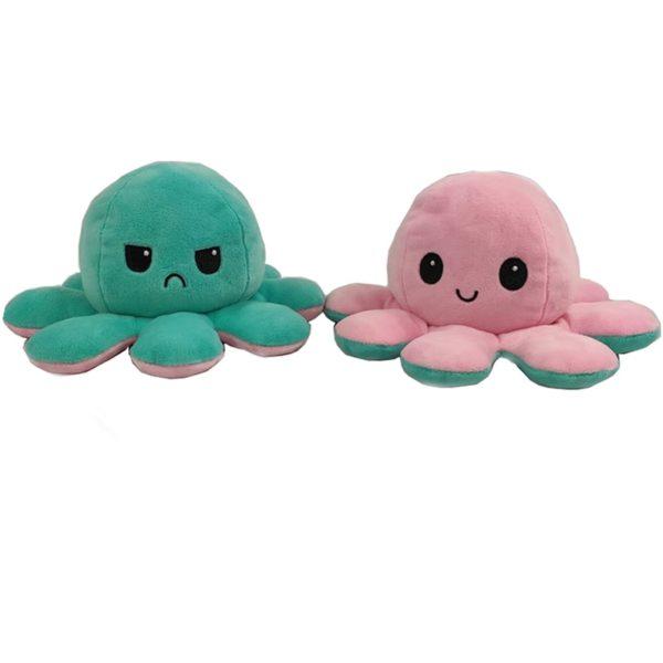 Oboustranná plyšová chobotnice s měnícím se výrazem