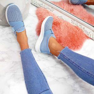 Dámské fashion modré tenisky s kamínky   HIT 2021