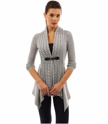 Podzimní teplý pletený pohodlný zapínací svetřík