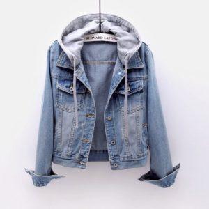Dámská trendy jarní riflová bunda s kapucí