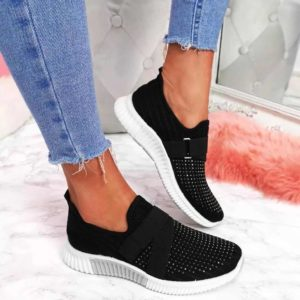 Dámské módní černé tenisky s kamínky | HIT 2021