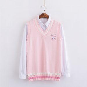 Dámský svetr přes košili s králíčkem