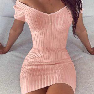 Módní jednobarevné dámské šaty s krátkým rukávem