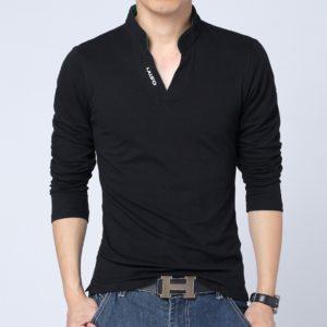 Pánské tričko s dlouhým rukávem a límcem