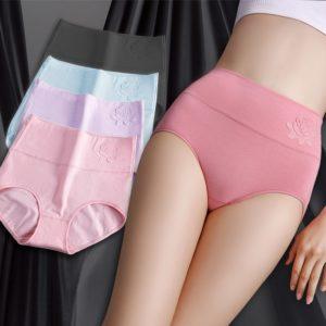 Bavlněné měkké elastické kalhotky s vysokým pasem