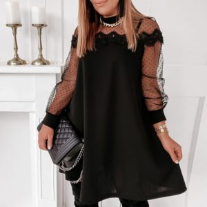 Dámské elegantní šaty se zdobeným dlouhým rukávem