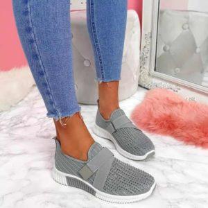 Dámské módní šedé tenisky s kamínky | HIT 2021