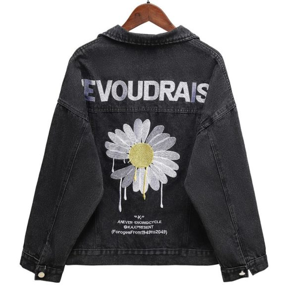Dámská jarní džínová bunda s potiskem na zádech