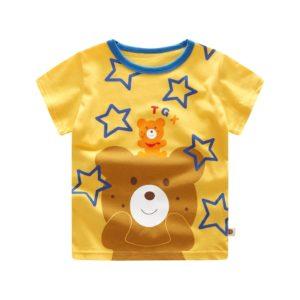 Dětské tričko s roztomilým potiskem medvídka a krátkým rukávem