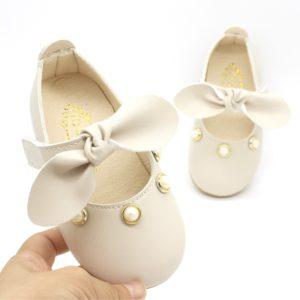 Dětské letní sandálky s mašlí a a perličkami