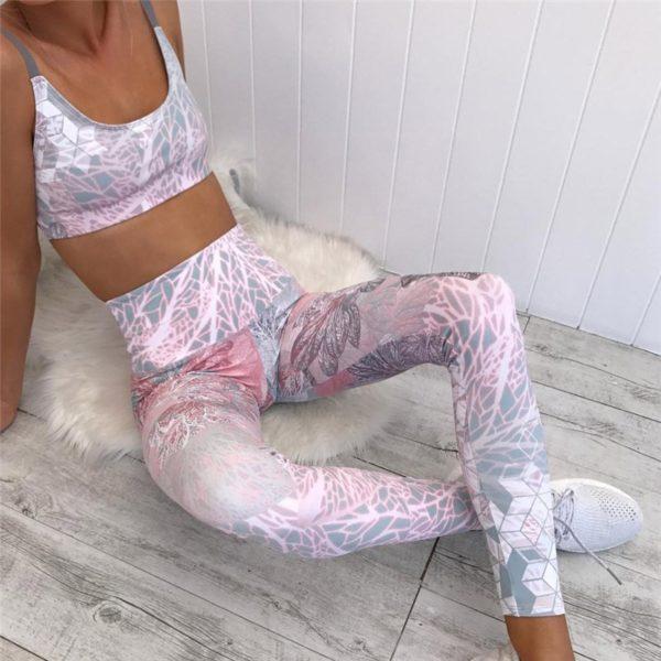Dámský sexy sportovní růžový set do fitka