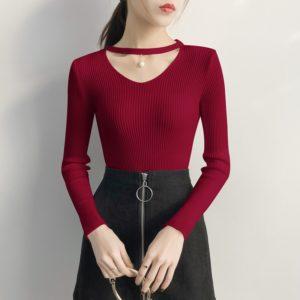 Dámský ležérní svetr s výstřihem Monica