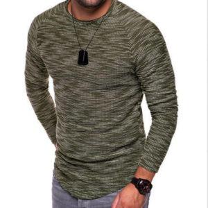 Pánské ležérní jednobarevné triko s dlouhým rukávem