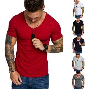 Pánské jednobarevné fitness slim tričko