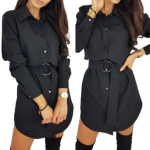 Stylové černé nápadité šaty na knoflíky a páskem