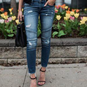 Dámské strečové úzké džíny s vysokým pasem