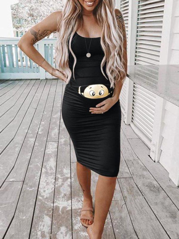 Těhotenské šaty na ramínka s roztomilým potiskem miminka