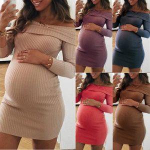 Jednobarevné elegantní módní těhotenské šaty