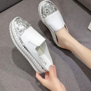 Luxusní dámské kožené pantofle s krystalem