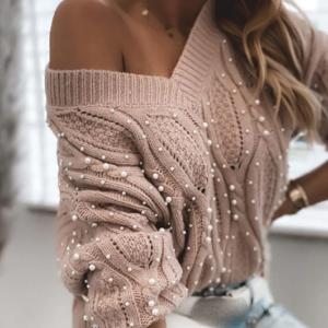 Luxusní dámský pletený svetr s perličkami Caliope