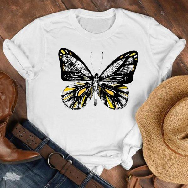 Dámské tričko s krásným potiskem motýlů a květin