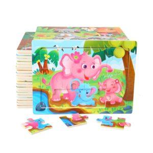 Dětské roztomilé dřevěné puzzle se zvířátky