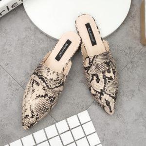 Dámské elegantní pantofle s plochým podpatkem