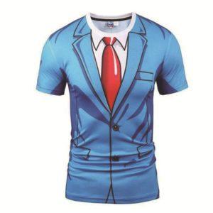 Legrační modré pánské tričko s potiskem saka a kravaty