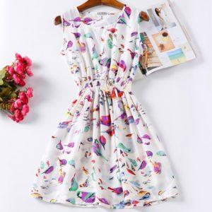 Dámské mini šaty s krásným potiskem v retro střihu
